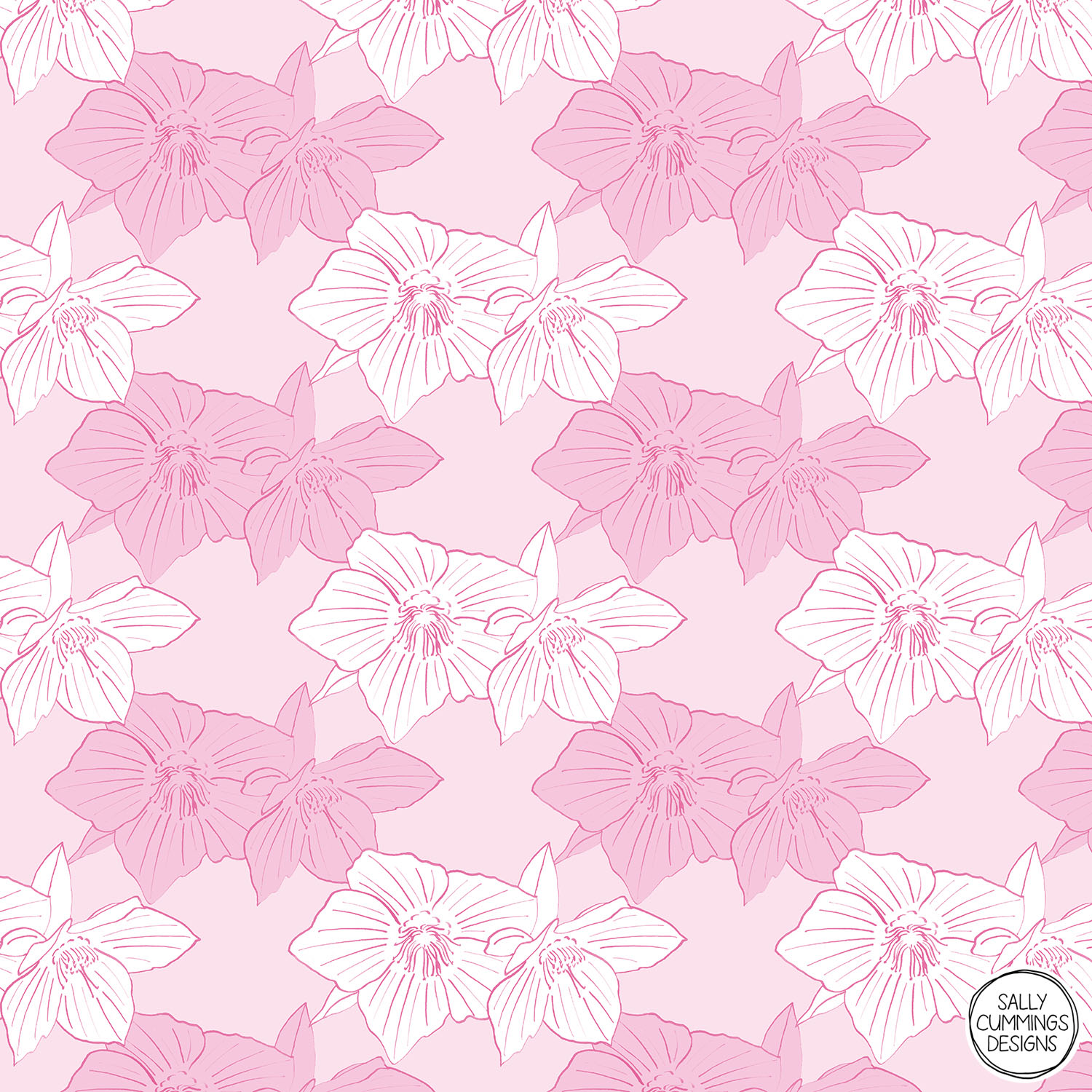 Sally Cummings Designs - Pink Hellebores Pattern