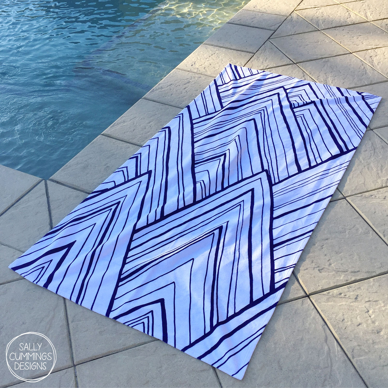 Stripe Mountains - Dark Blue beach towel from Society6