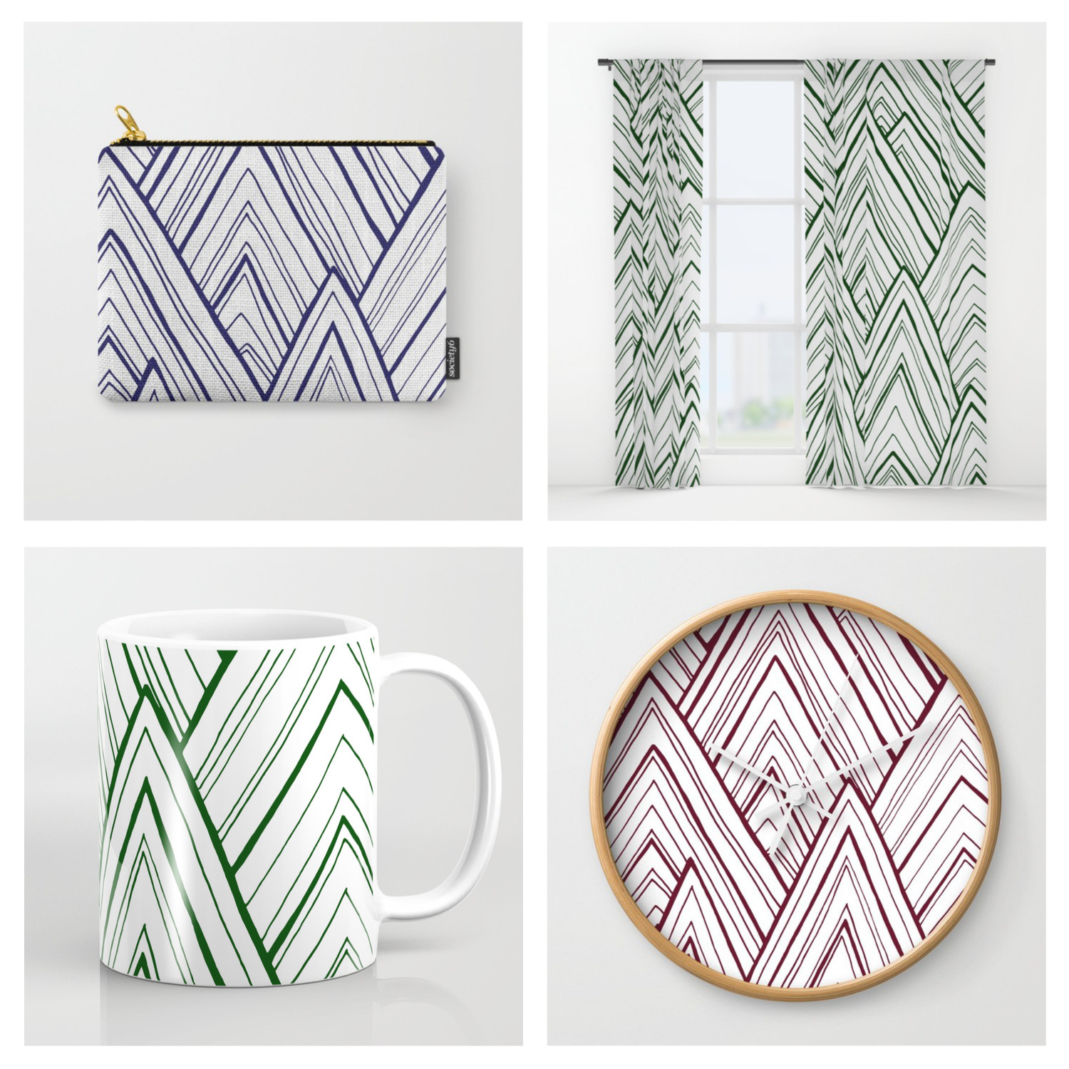 Selection of Society6 products featuring the Stripe Mountains design