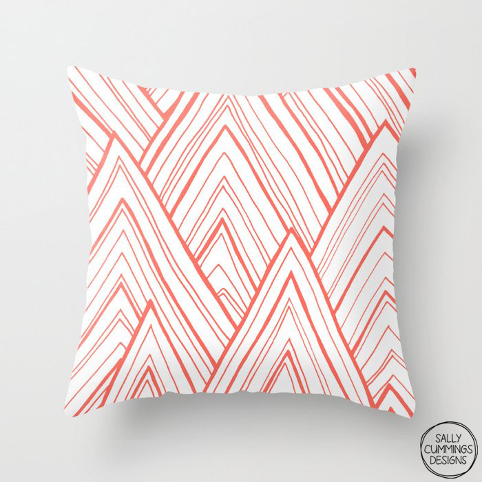 Stripe Mountains - Living Coral throw pillow from Society6