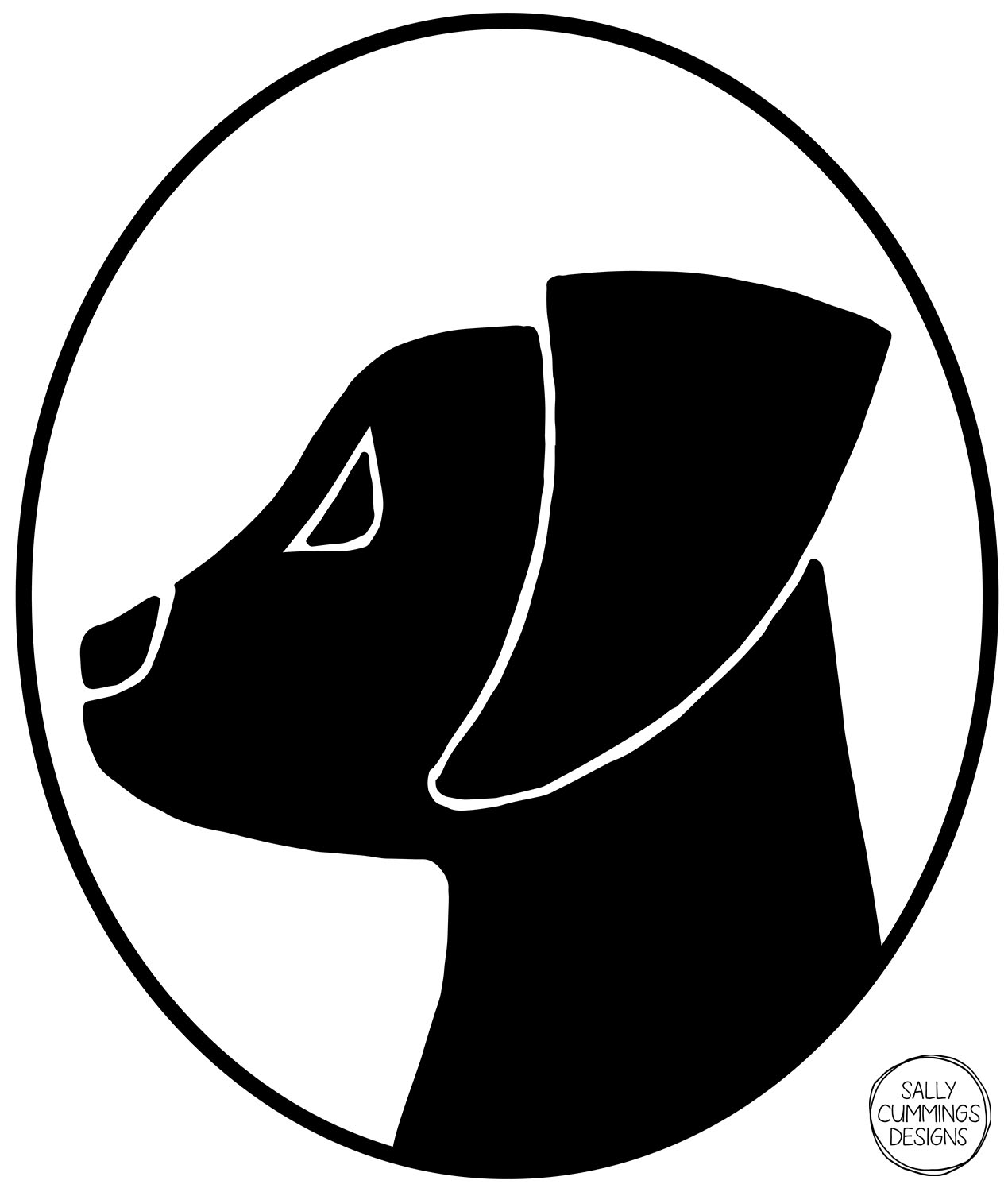 Sally Cummings Designs - Dog Cameo Oval 1 (Labrador Pup)