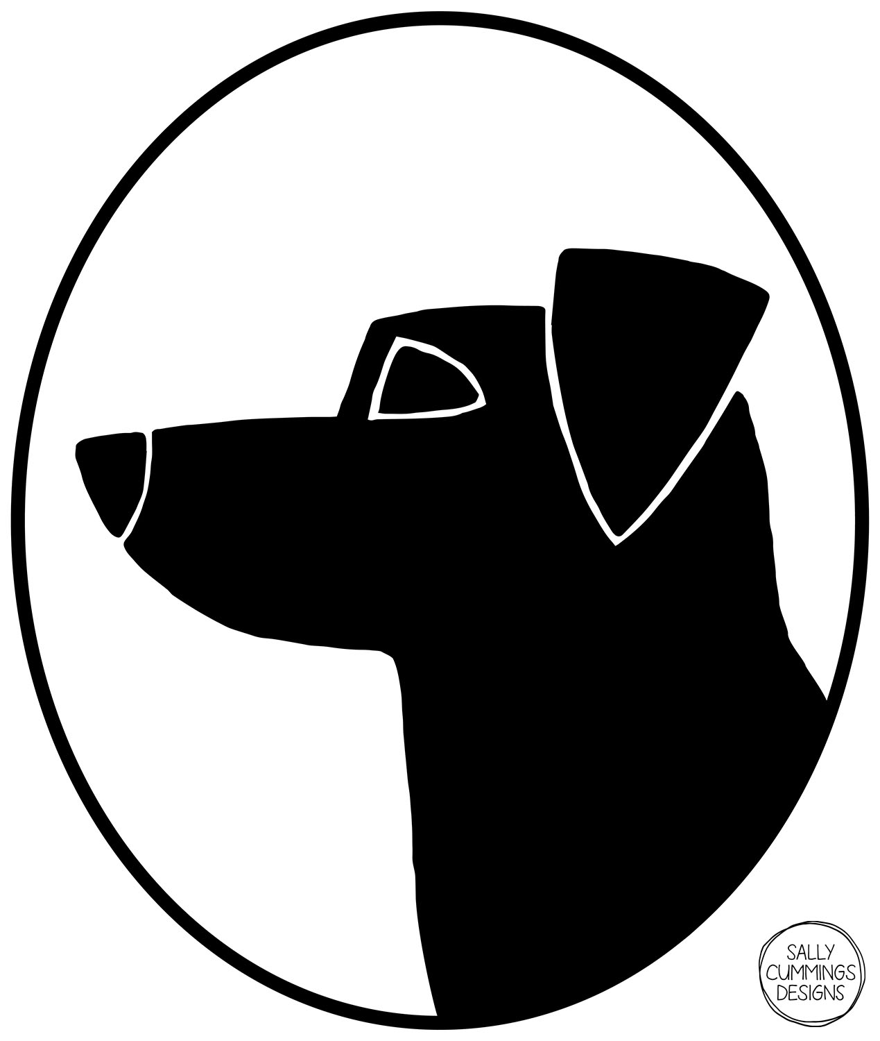 Sally Cummings Designs - Dog Cameo Oval 2 (Jack Russell Terrier)