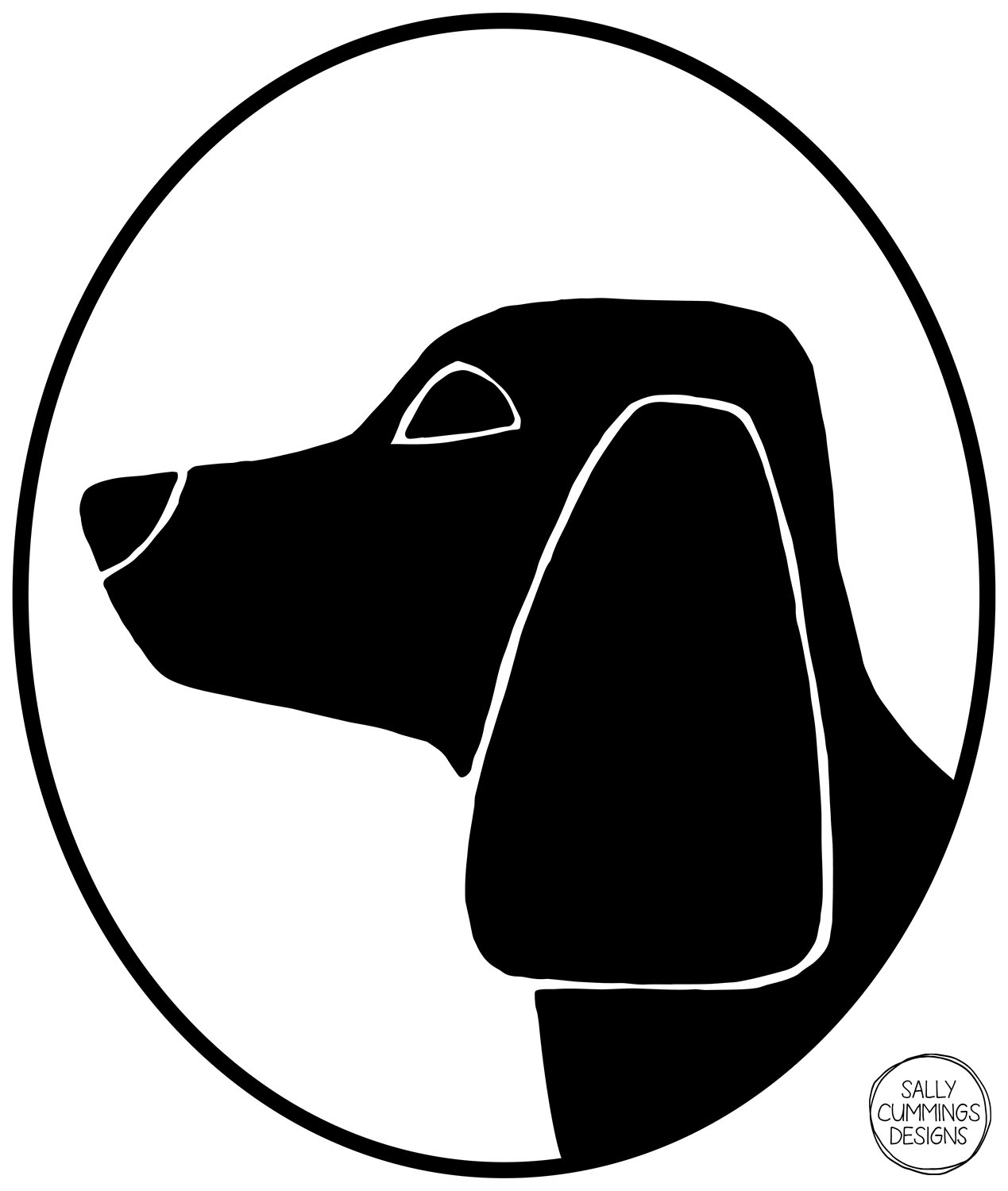 Sally Cummings Designs - Dog Cameo Oval 3 (Beagle)