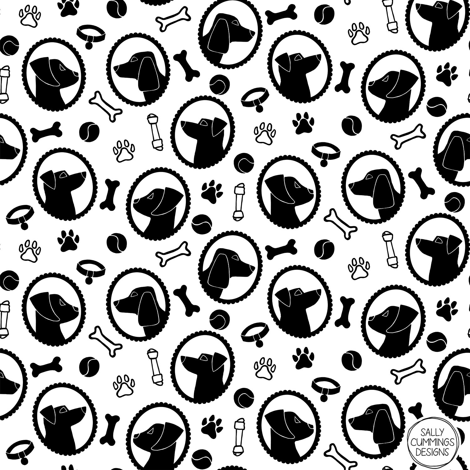 Sally Cummings Designs - Dog Cameos Pattern Monochrome