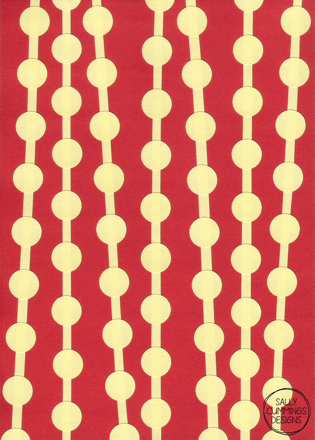Sally Cummings Designs - Bead Curtain Collage (Red and Yellow)