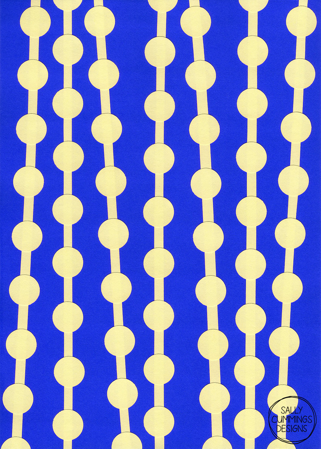 Sally Cummings Designs - Bead Curtain Collage (Blue and Yellow)