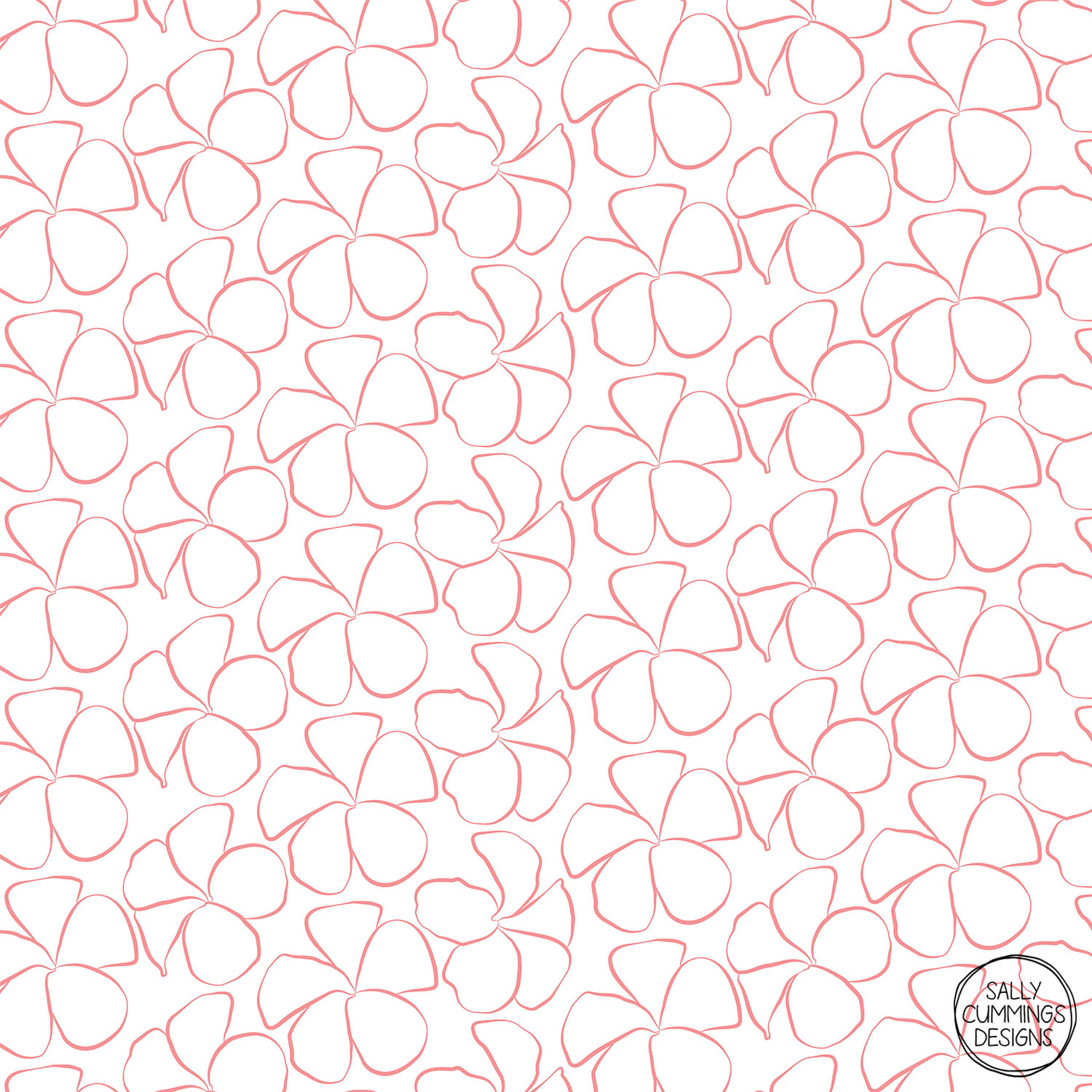 Sally Cummings Designs - Sweet Frangipani (Salmon Pink on White)