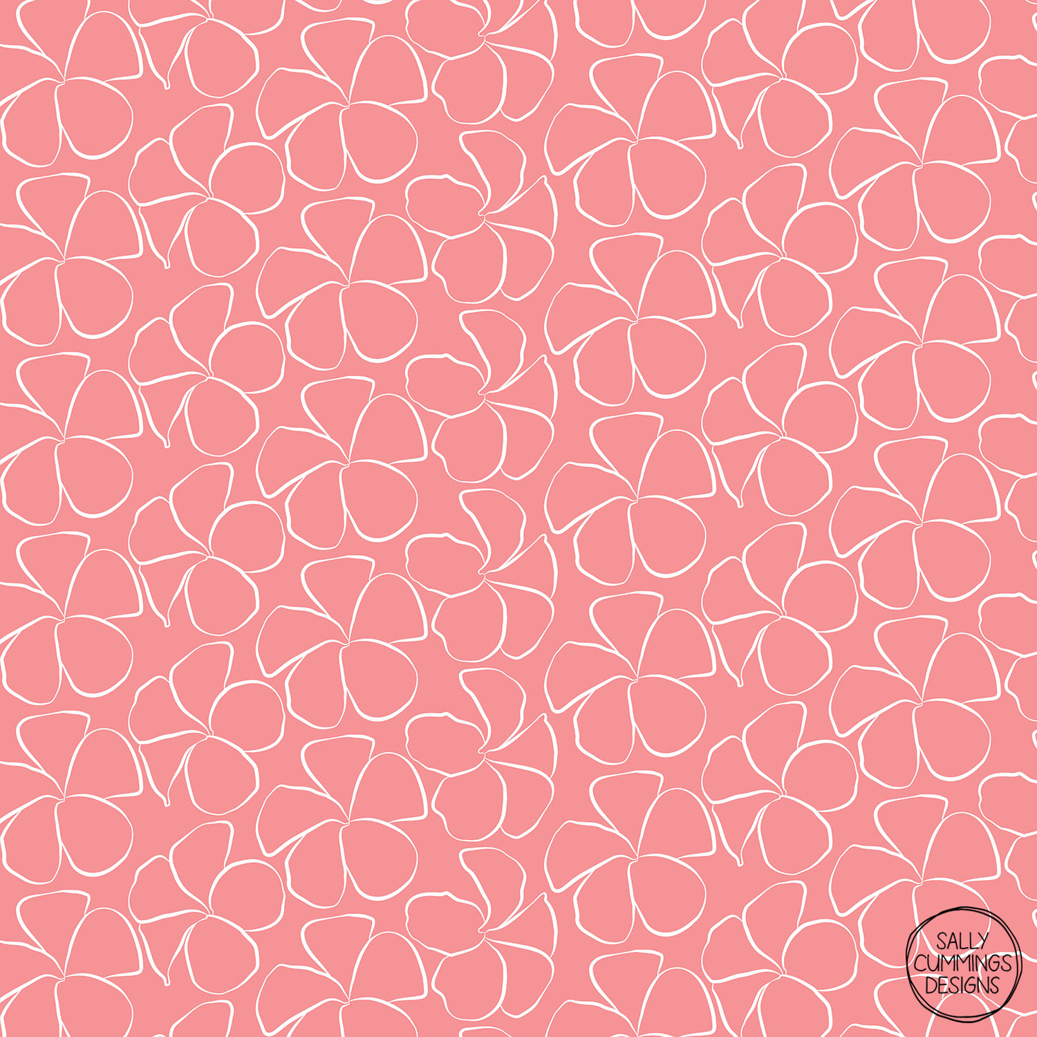 Sally Cummings Designs - Sweet Frangipani (White on Salmon Pink)