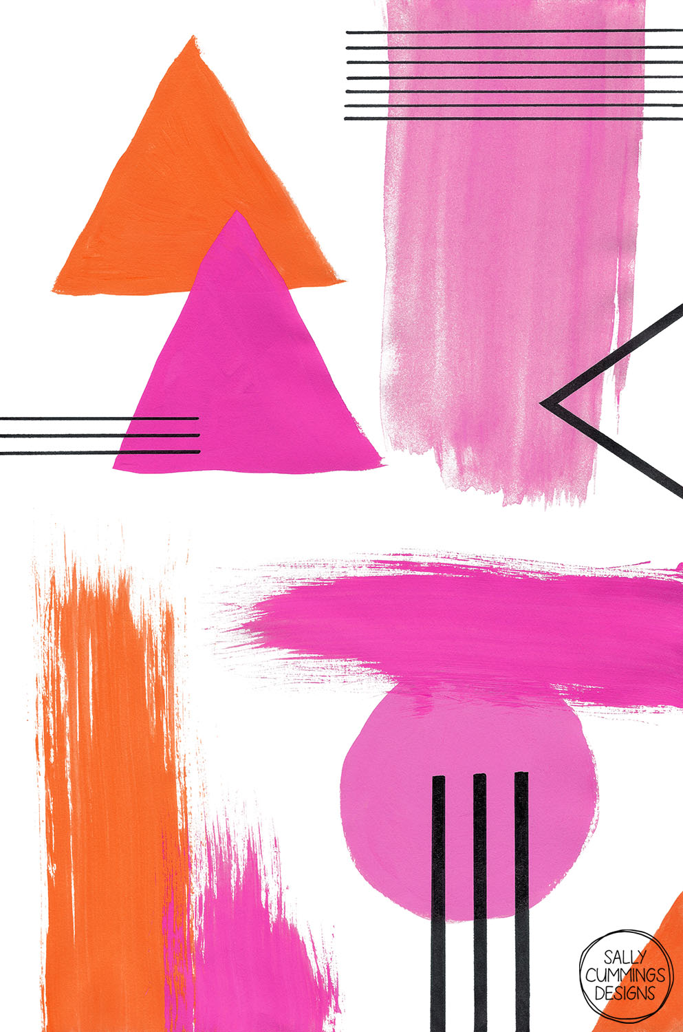 Sally Cummings Designs - Abstract Composition in Pink and Orange