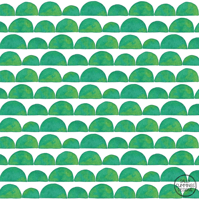 Sally Cummings Designs - Green Ink Wash Semi Circles