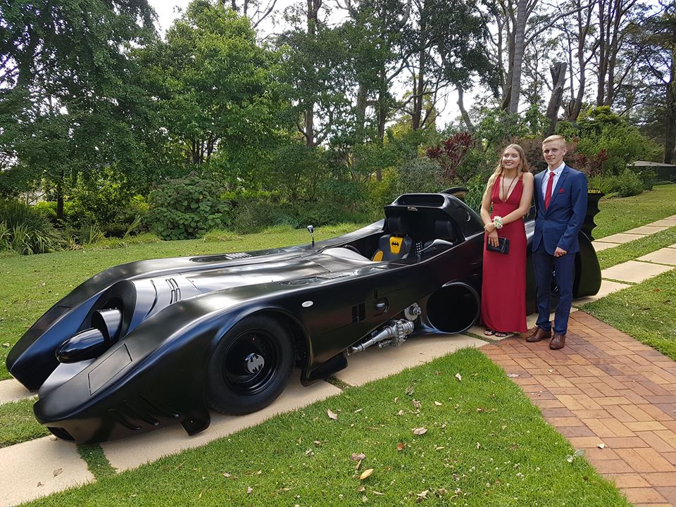 Shaun and his beautiful partner Sophie at the Batmobile's first formal arrival