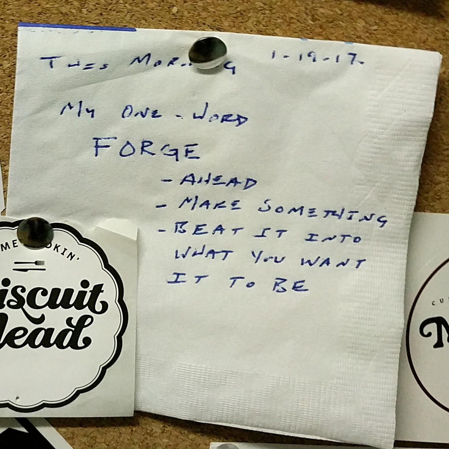 The prophetic napkin now hangs on a cork board in Joel's office.
