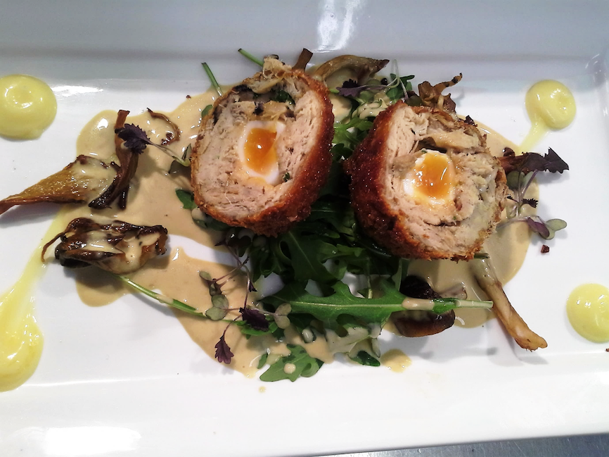 """Scotch Egg"" Confit Pork Belly with Pancetta, Quail's Egg, Truffle Mayonnaise and Wild Mushroom Sauce"