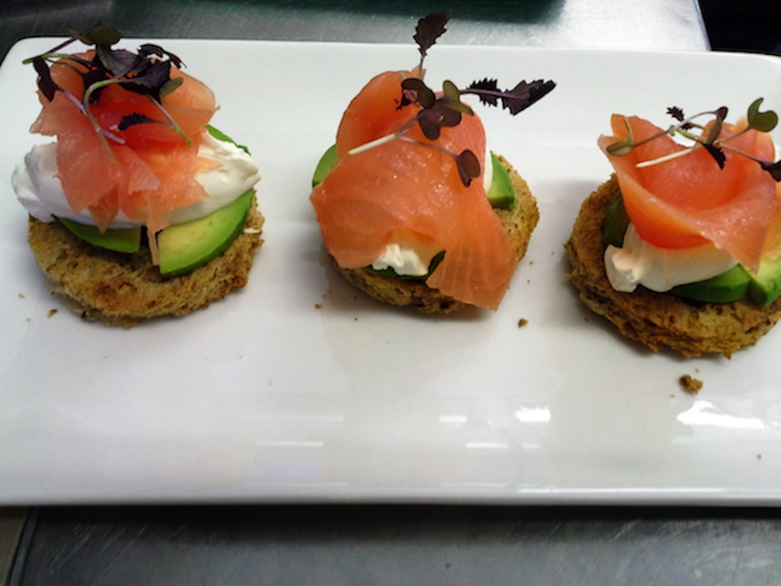 From the Bar Menu: Smoked Salmon with Crème Fraîche and Avocado