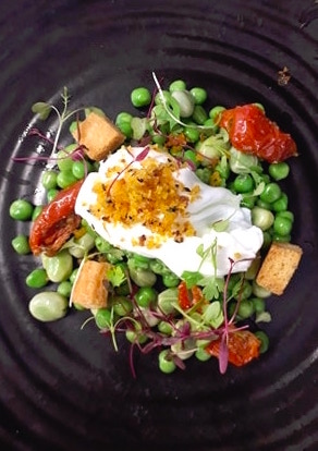 Pea and Broad Bean Salad with Poached Egg