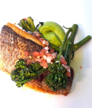 Pan-Fried Fillet of Sea Bream with Champ Mash, Tenderstem Broccoli and Sauce Vierge
