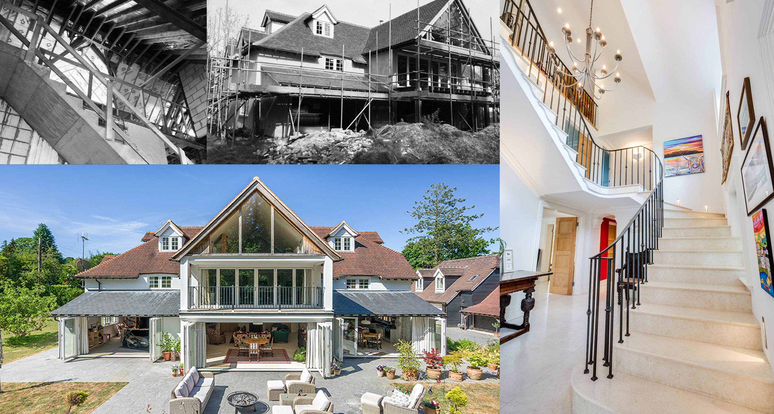 The White House - West Sussex - Complete refurbishment and extension of family home in West Sussex. Working closely with the client we developed and designed many of the internal features including a cantilevered marble staircase and numerous other bespoke finishes.