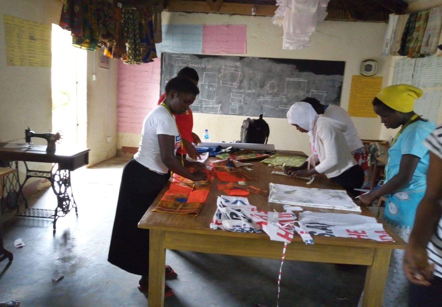 Girls training for tailoring