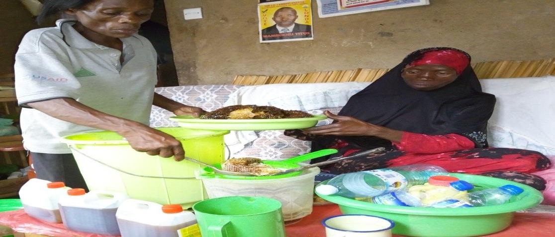 Woman making honey