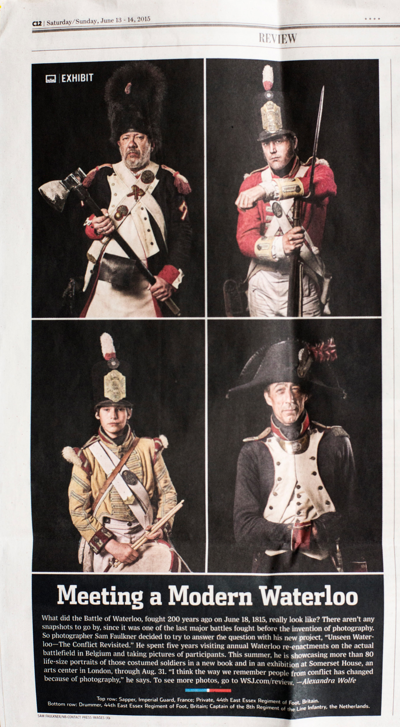The Wall Street Journal  WSJ features Sam Faulkner's Unseen Waterloo pictures.