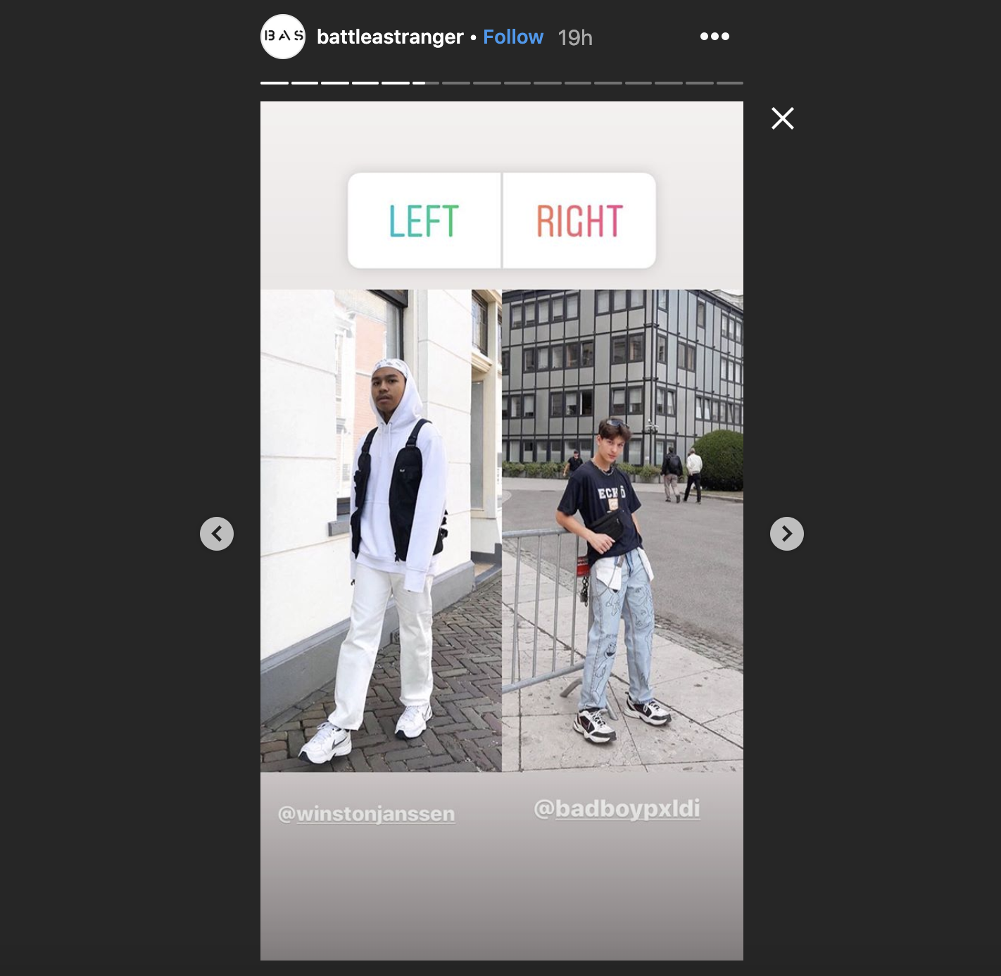Instagram account    @battleastranger    using user-generate content to increase engagement.