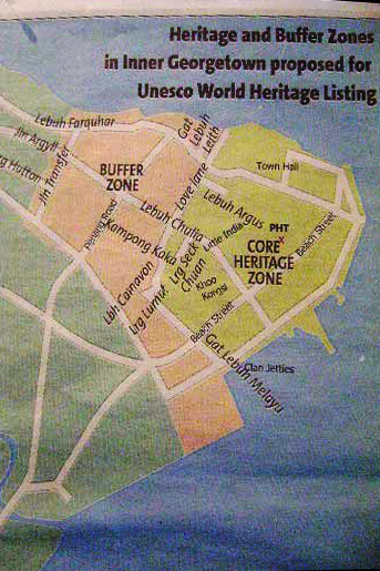 Buffer Zone and Core Zone coverage for Penang Heritage Area