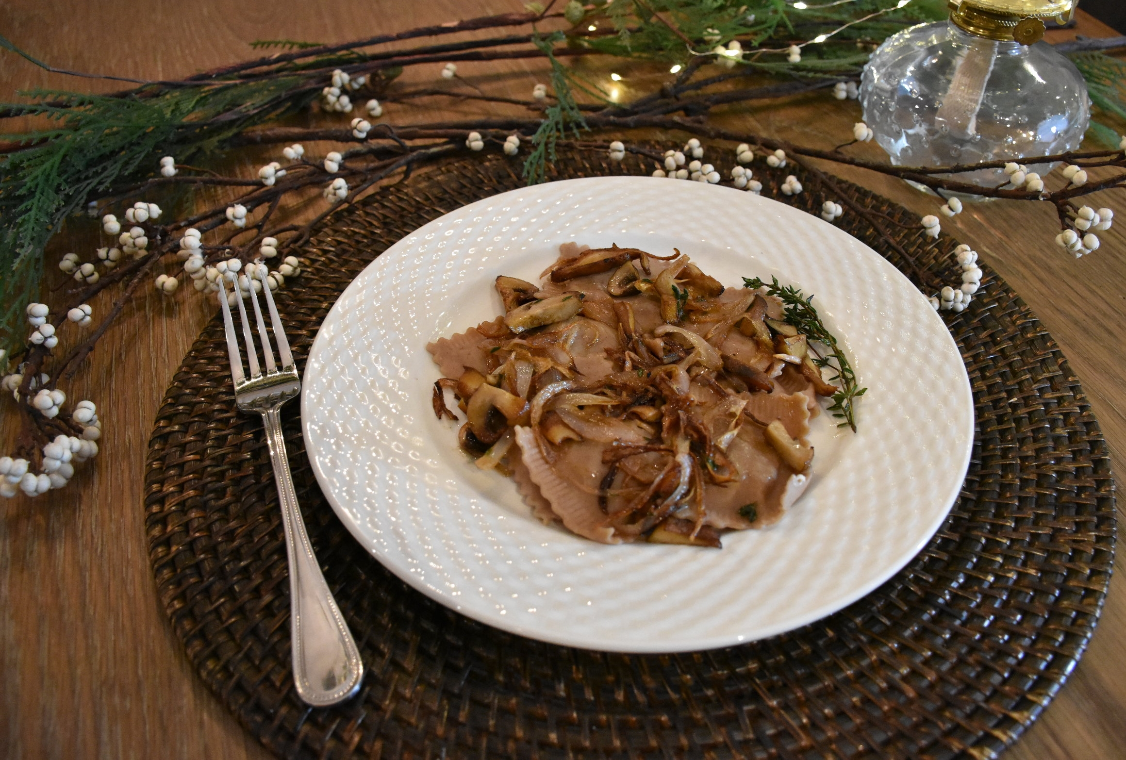 Valicenti Pasta Farm Recipe - Braised Chestnut Ravioli served with Sautéed Shallots, Wild Mushrooms, & Thyme