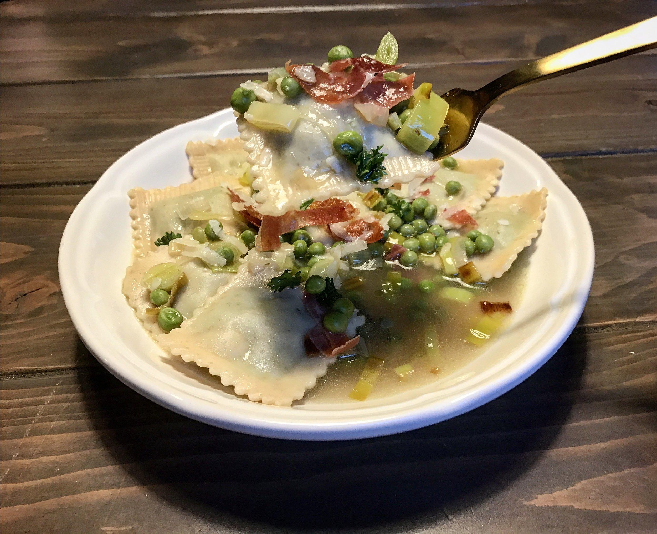 Prosciutto with English Pea, Leek, & Fresh Parsley Vegetable Broth  (feat. Sweet Pea w/ Olive Oil Ravioli)