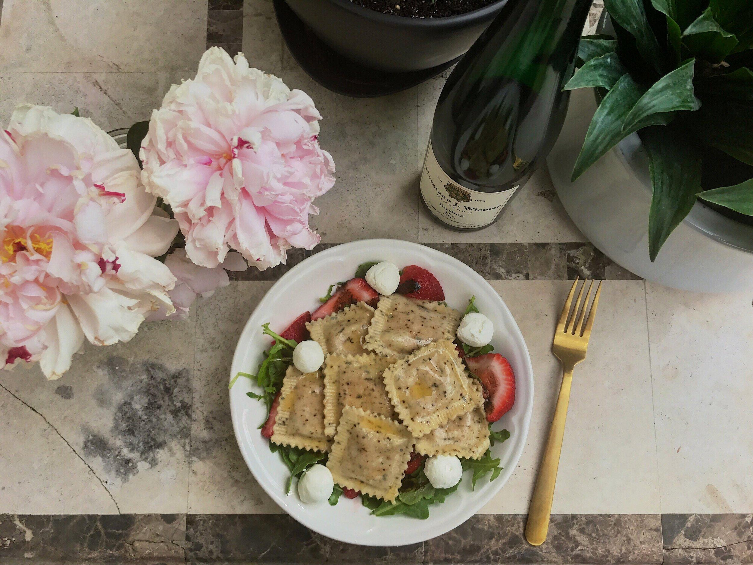 Valicenti Pasta Farm's Strawberry & Chèvre w/ Lemon, Black Pepper, & Thyme Ravioli