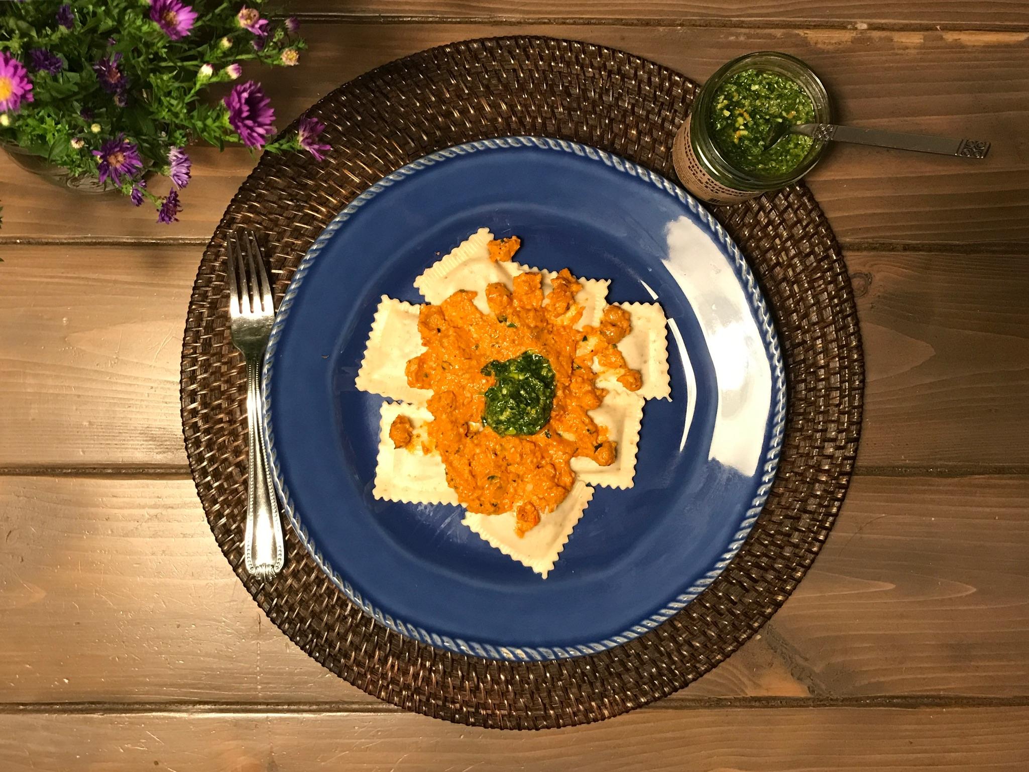 Romesco Sauce w/ Sautéed Chickpeas and Parsley  (feat. Slow BBQ Lamb w/ Caramelized Sweet Potato Ravioli)