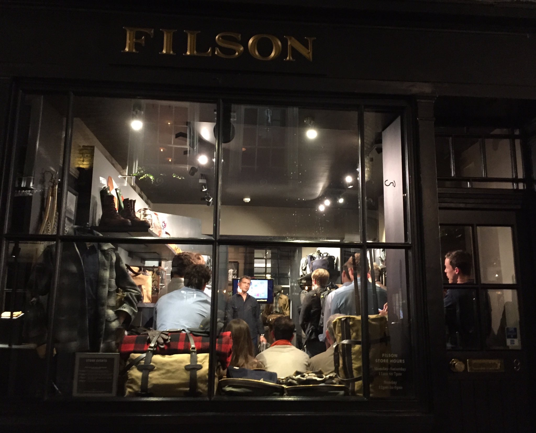 "Filson's Soho store was the venue for a talk on ""Dressing to Survive"""