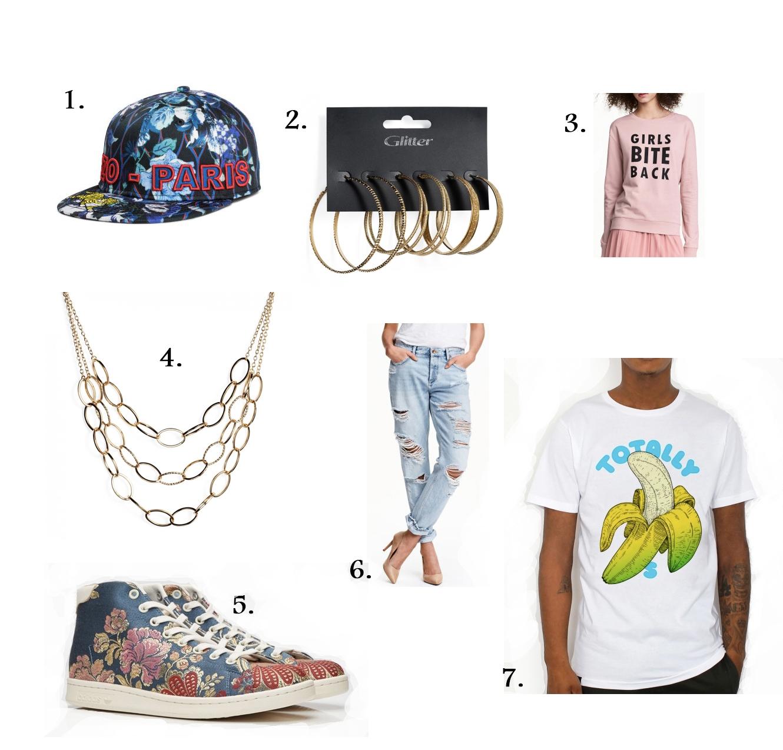 1. Keps med broderier från H&M,  399 kr . 2. Stora örhängen från Glitter,  105 kr . 3. Sweatshirt från H&M,  99 kr . 4. Kedjehalsband med ringar från Glitter,  155 kr . 5. Sneakers från Adidas,  2199 kr . 6. Jeans från H&M,  399 kr . 7. Färgglad tröja från T-shirtstore,  349 kr .