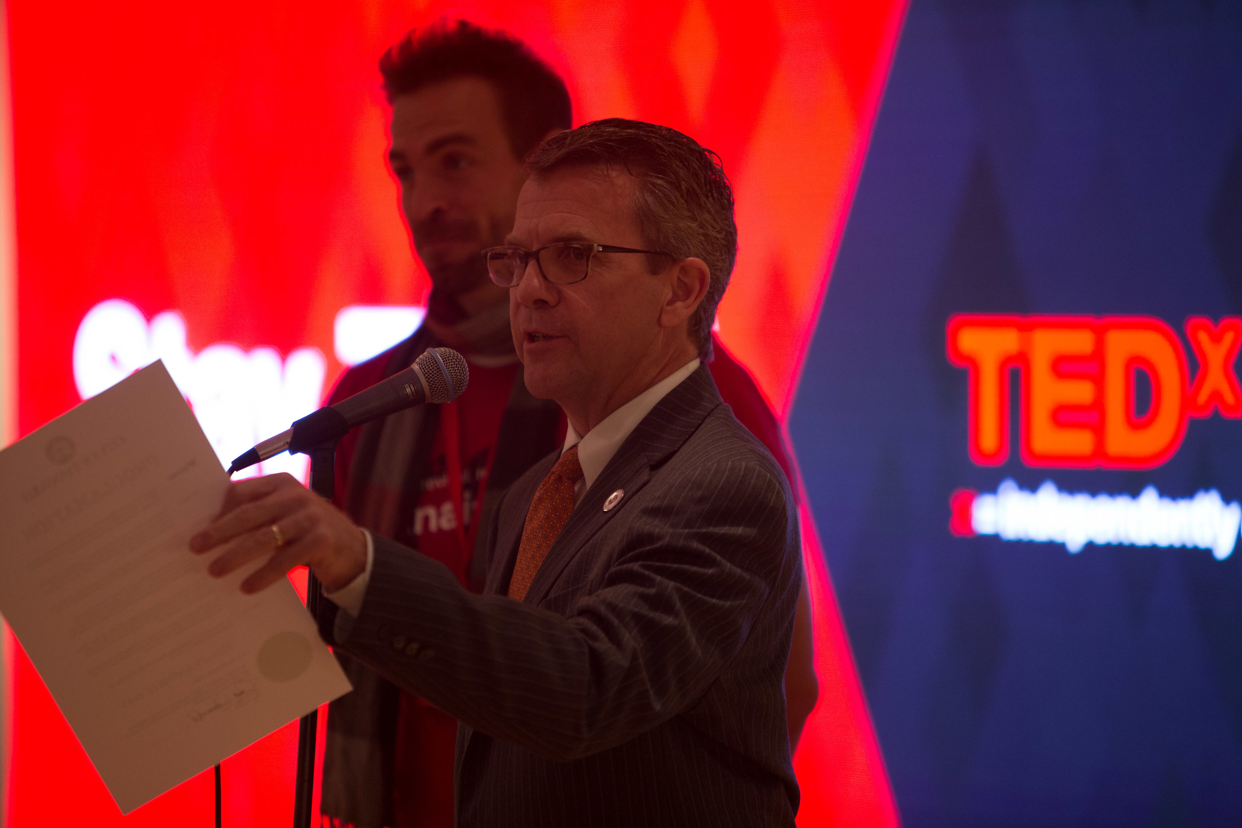 Zac with Mayor Lloyd Winnecke at TEDxEvansville 2015