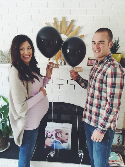 22 weeks. Our gender reveal party! 'Staches and Lashes  theme!