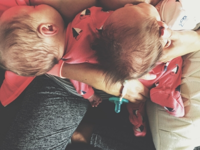 One of the last times that I tandem fed. You can read my post  here  that I wrote for World Breastfeeding Week.