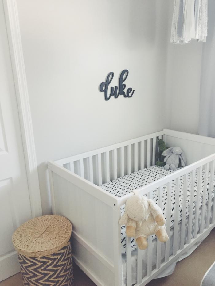 Duke's Crib:  Crib | Name Sign |  Laundry Basket  | White Noise Maker |  Dino + Bunny Stuffies |  Crib Sheet | Crib Skirt |  Crib Mattress |
