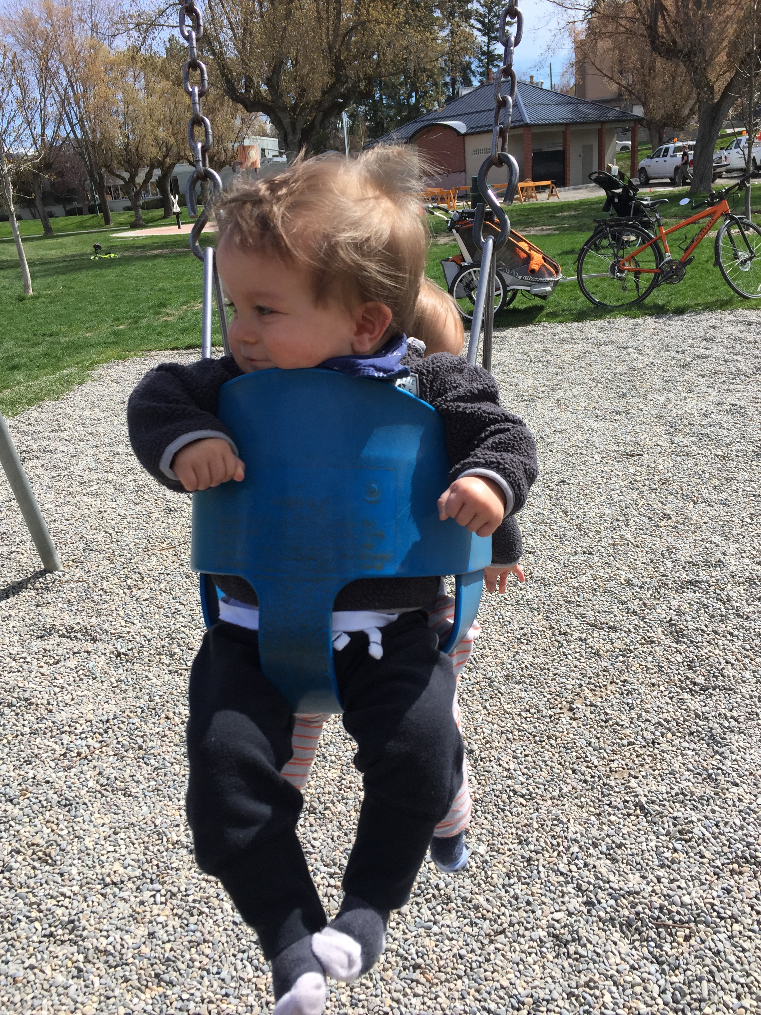 Loving the swings at Rotary Park!