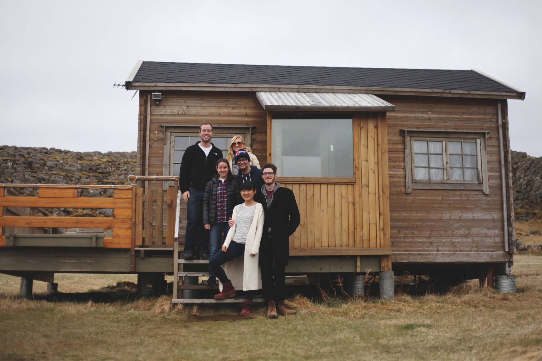One big happy family that got cozy in this little, wooden cottage.