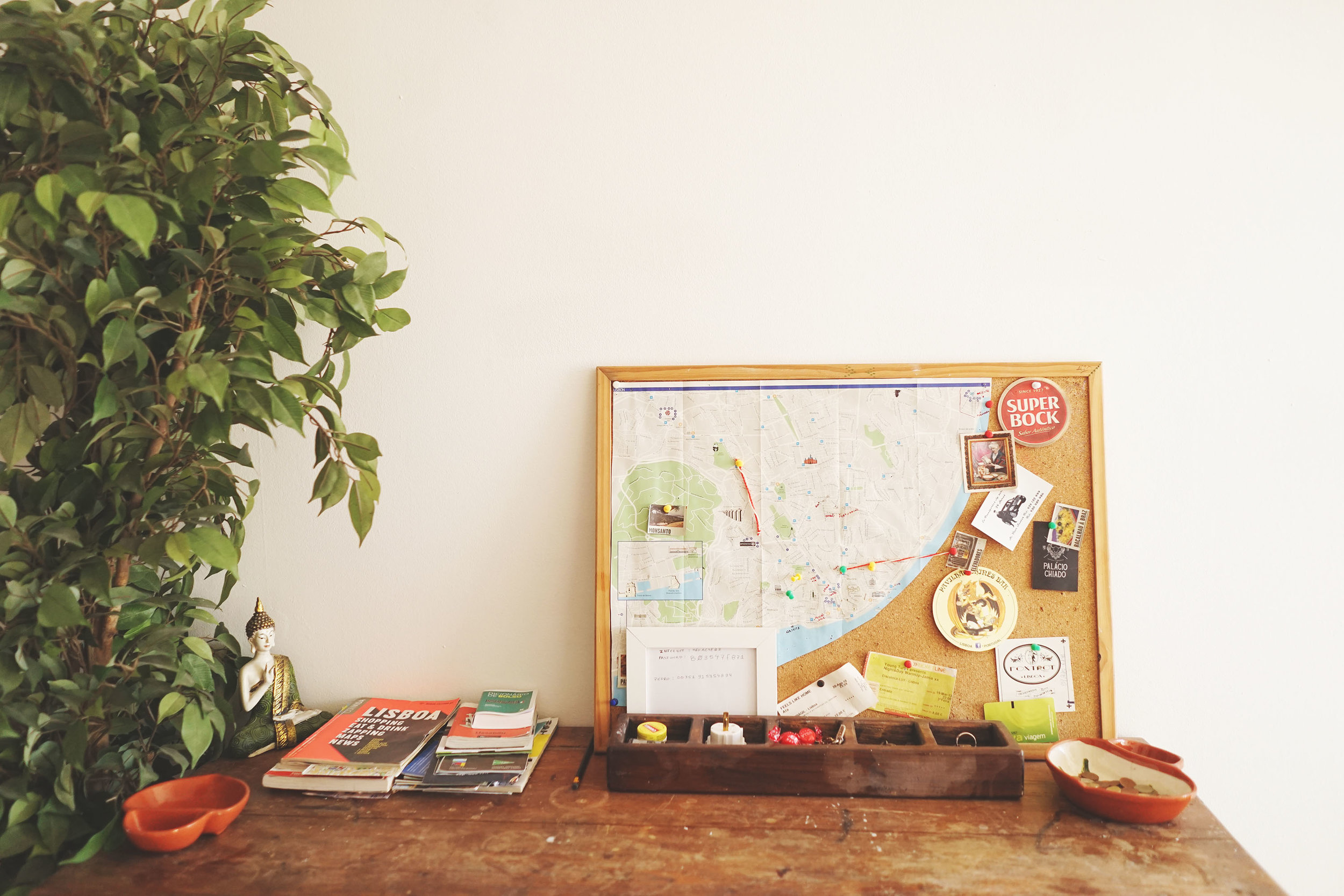 Helpful guidebooks and a map with our host, Pedro's, recommendations. Note the pinned concert ticket for only €8.