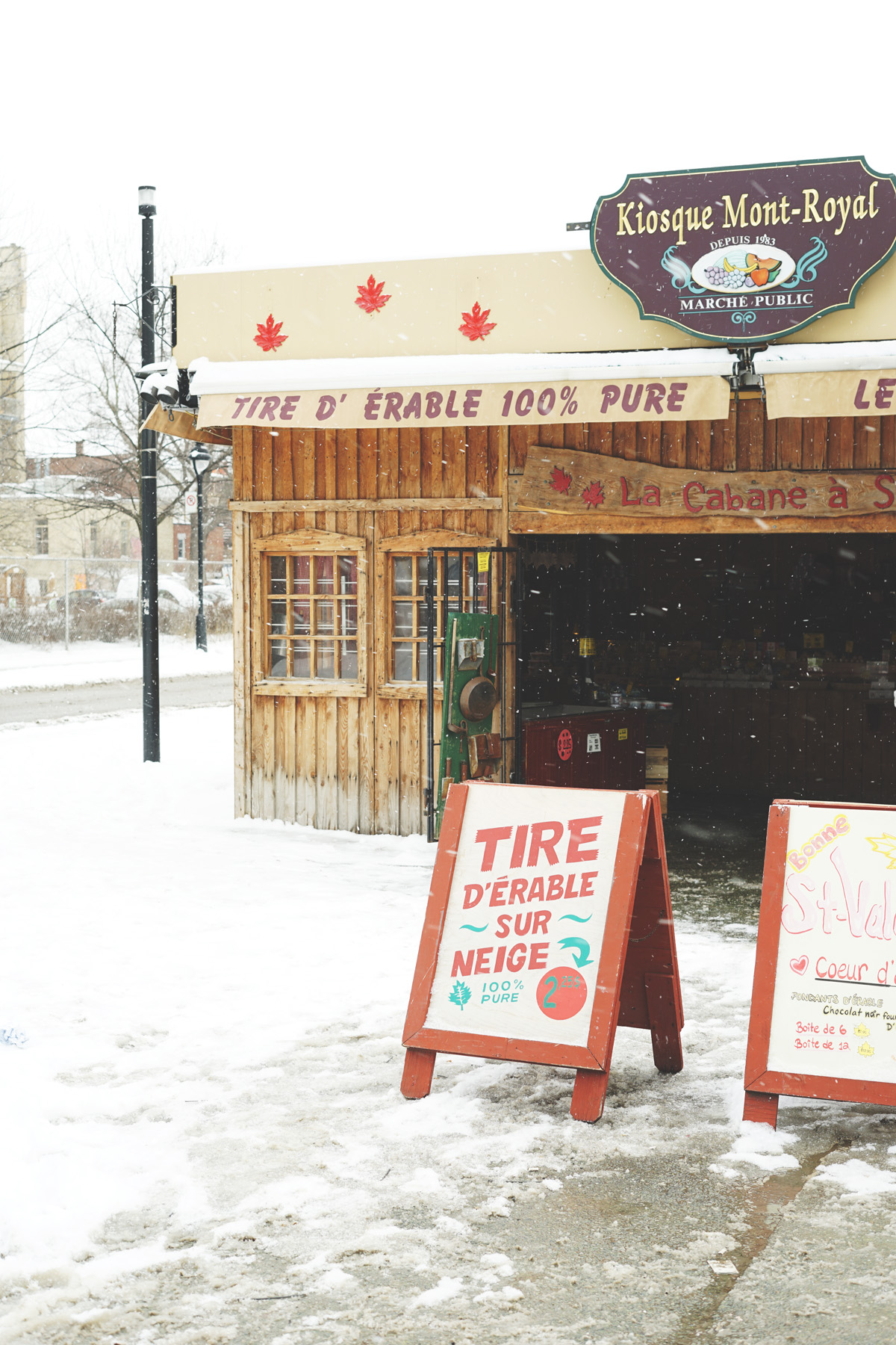 You'll find little shacks all over Montréal in the winter selling maple treats.