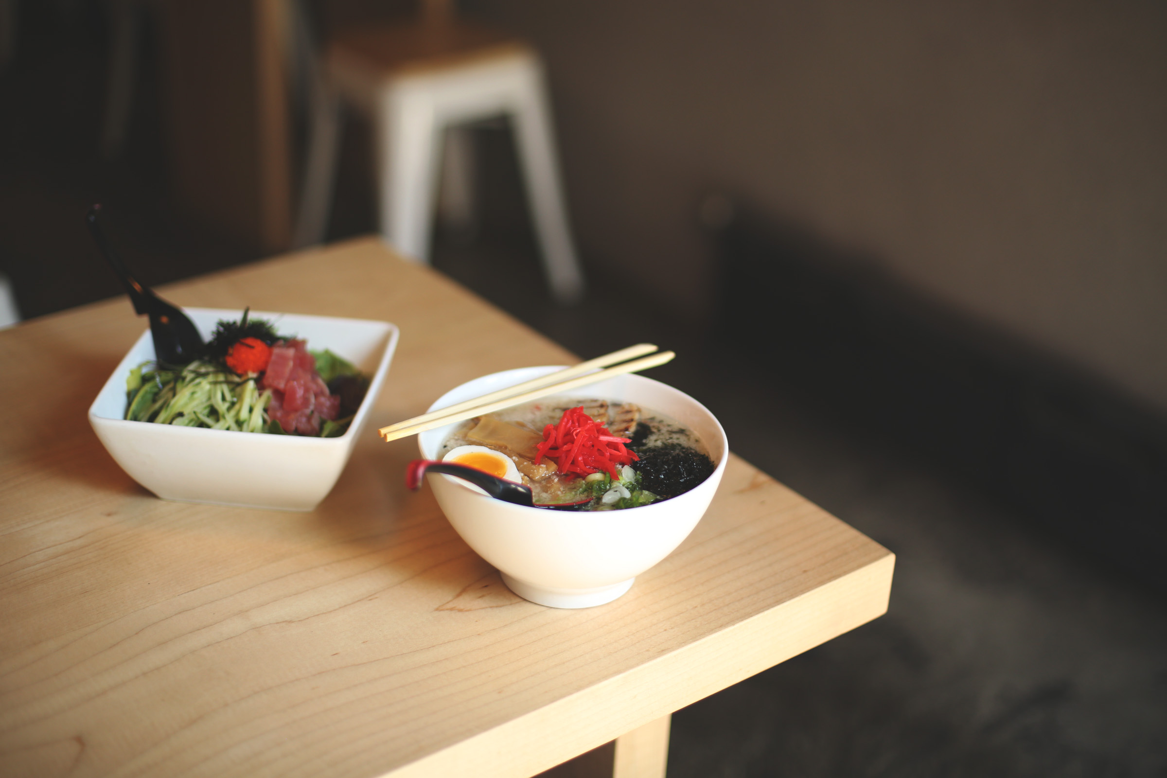 Spotted behind the ramen, you'll find their poke noodle bowl, with freshly diced tuna, fish roe, cold noodles, and even more deliciousness.