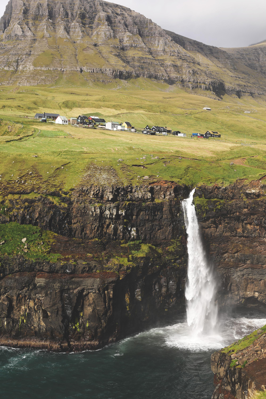 The breath-taking Mulafossur waterfall, right underneath the village of Gasadular.