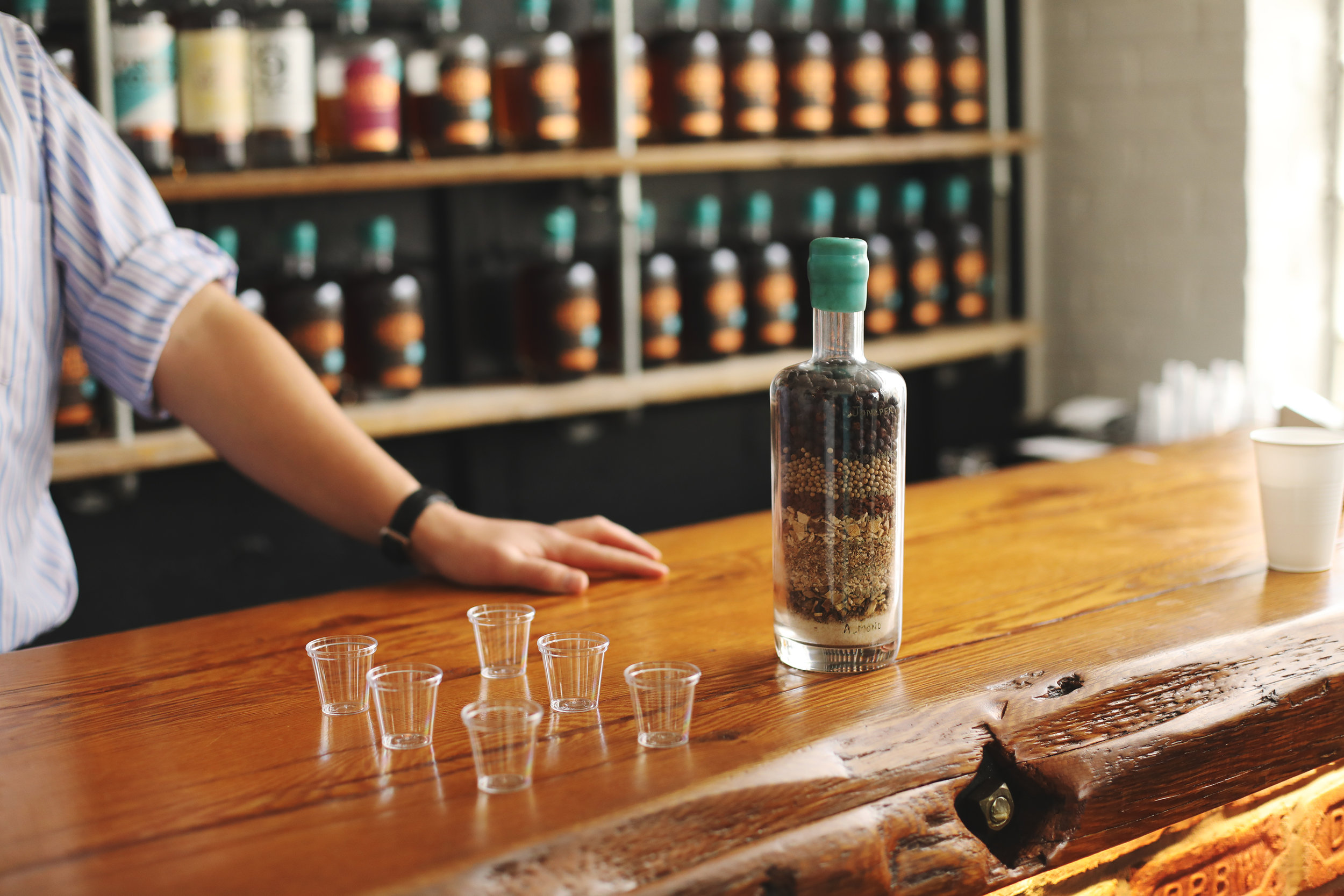 Denning's Point Distillery offers tastings of three (3) different spirits for $5. Try all six with two tastings and you won't be disappointed.