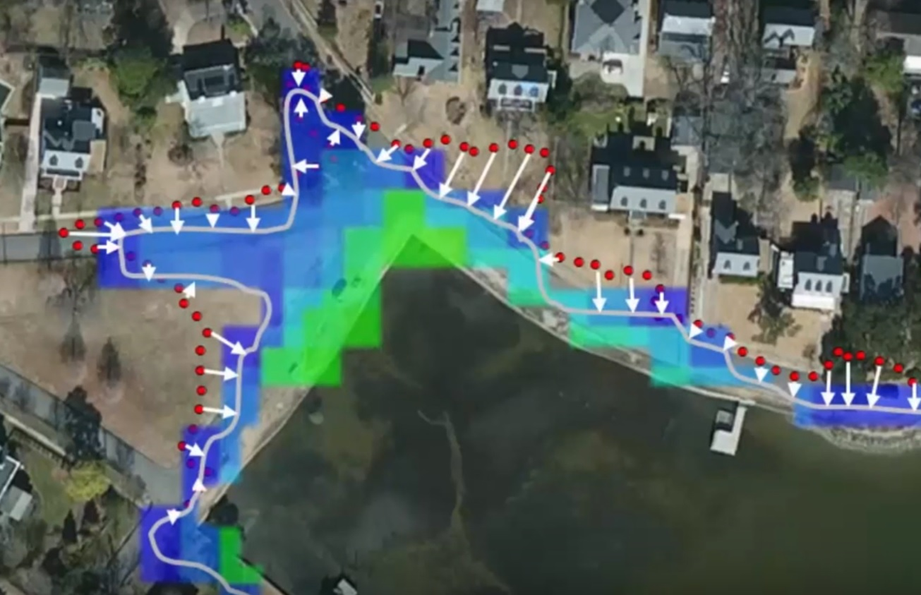 This map shows how VIMS' Derek Loftis used citizen-scientist data to improve the institute's flooding model.