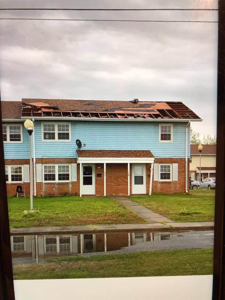 Straight-line wind damage in Crisfield. Photo: Somerset County Emergency Services/ Facebook