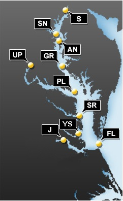 This map shows all current buoy locations. The Chesapeake Bay Interpretive Buoy System records everything from air and water temperature to probability of nettles.