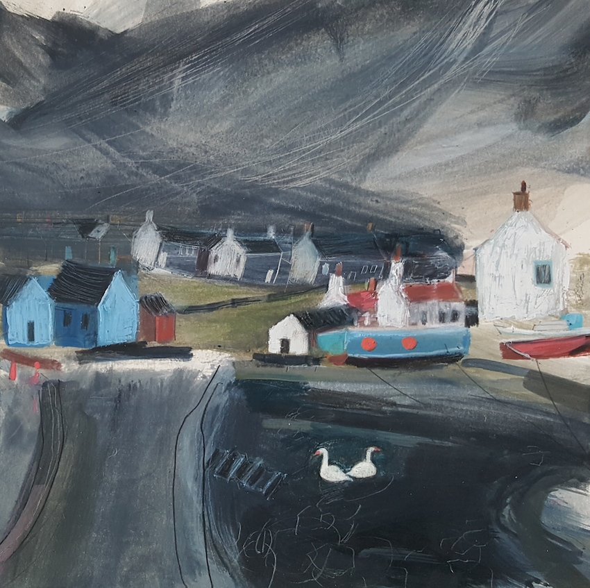 TWO WHITE SWANS ST ABBS HARBOUR  30 x 30 cms oil on paper