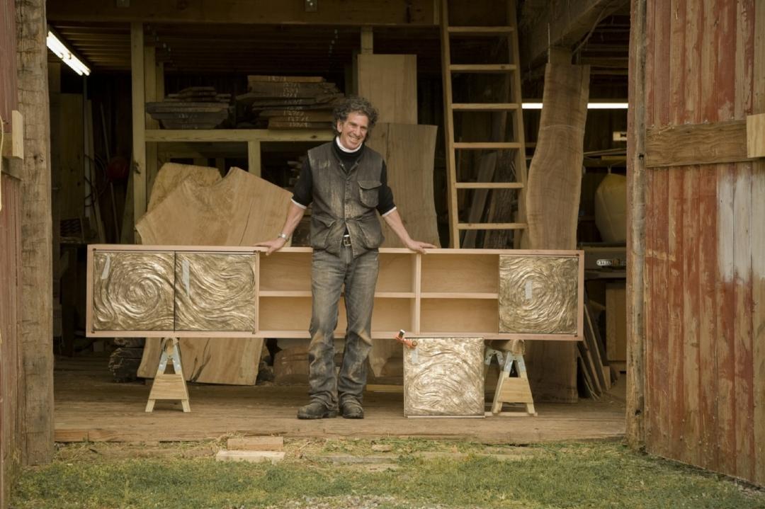 Mahogany Credenza with Cast Bronze doors custom made for Jamie Drake Design