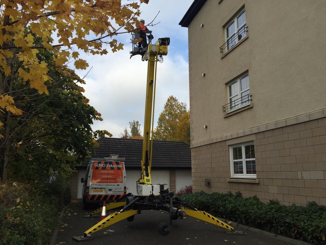 Cherry picker gutter clean, Peebles