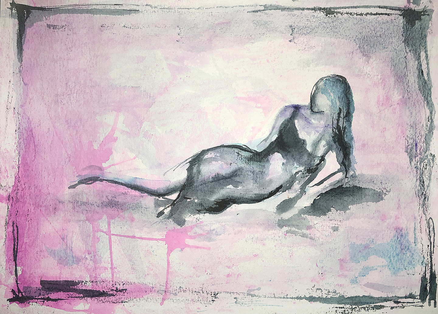 Watercolor on paper, painted with palette knives, female figure reclining.